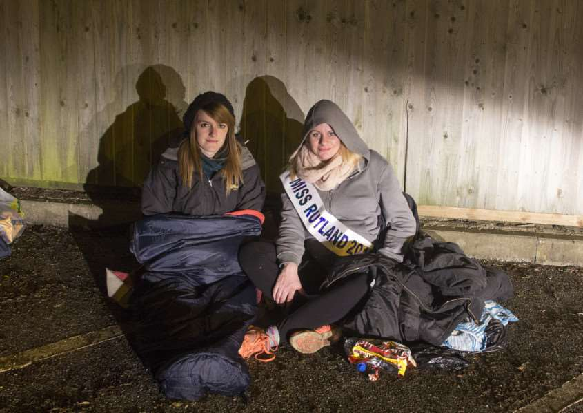 Miss Rutland 2015 contestant Emma Maskery and 2013 winner Cara Pereira sleep rough for a night to raise money for Dayton's Dream. Photo: Lee Hellwing. EMN-150106-160948001