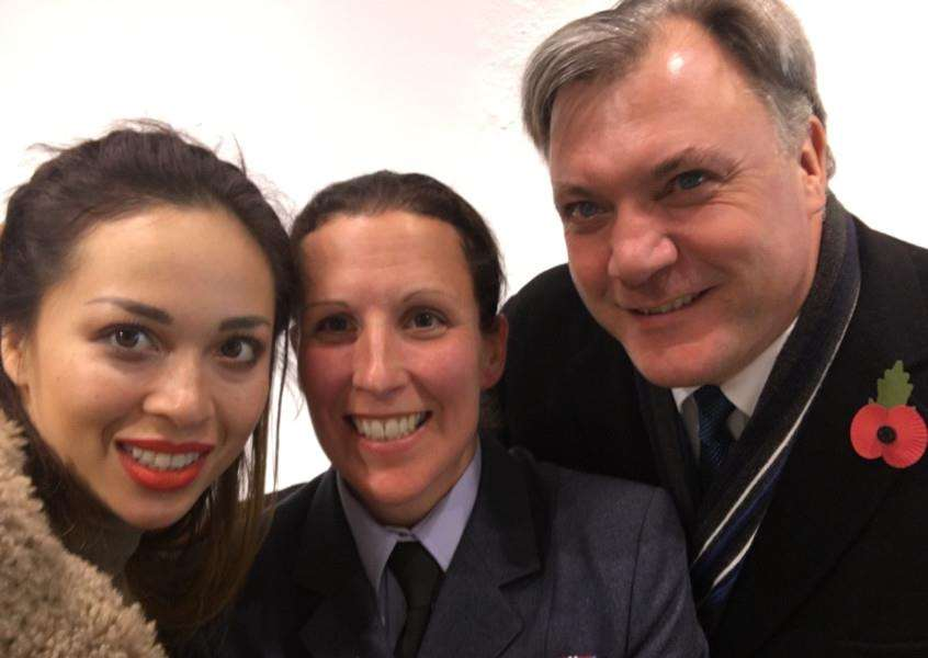 RAF Wittering personnel meet the stars of Strictly Come Dancing'Katya Jones, Sqn Ldr Jayne Mitchell and Ed Balls EMN-160711-164841001