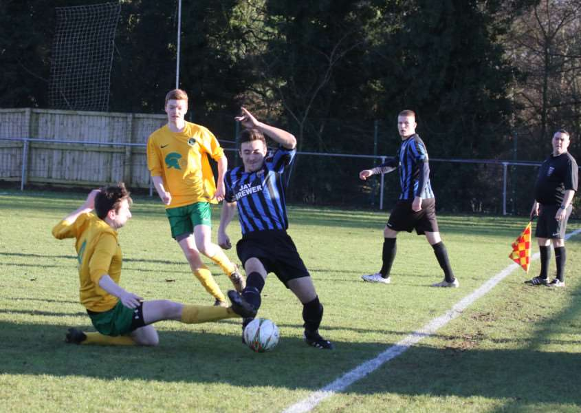 Action from Oakham United v Burton Park Wanderers. Photo: Geoff Atton