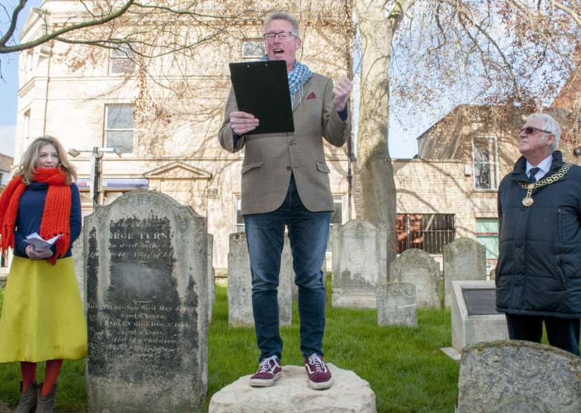The unveiling of the Stamford Poetry Stone'Photo: Lee Hellwing