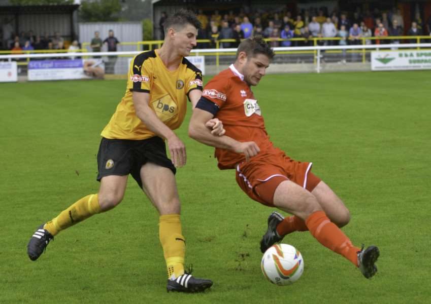 Action from Leamington v Stamford AFC in the FA Cup first round qualifying. Photo: Tim Harris EMN-150914-141406001
