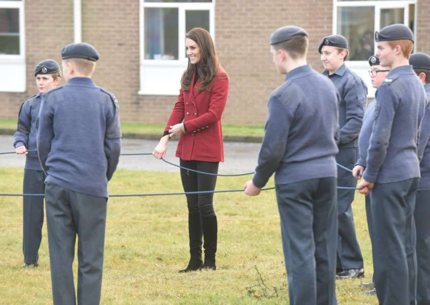 HRH the Duchess of Cambridge plays the Riverbank team building game with cadets. Photo by David Lowndes. METP140217-DL001.
