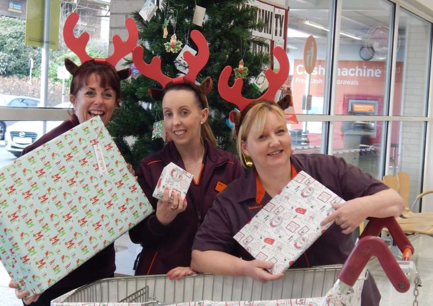 From left, Donna Scothern, Kim Beeby and Tina Taylor, who work at Sainsbury's in Stamford which is holding a Christmas Appeal in 2017. Submitted.