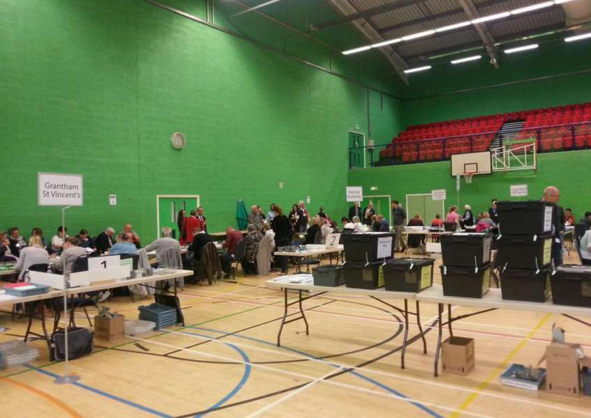 Count at The Meres in Grantham. Photo tweeted by SKDC