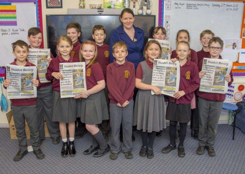 Youngsters at Great Casterton Primary learn about journalism from Mercury editor Kerry Coupe'photo: Lee Hellwing