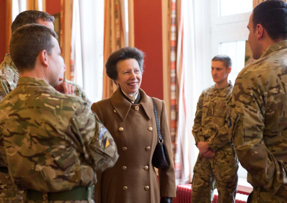 Princess Anne meets soldiers from 7 Regiment The Royal Logistic Corps at Kendrew Barracks. Photo courtesy of Sgt Si Longworth, Army Photographer. EMN-151002-160306001