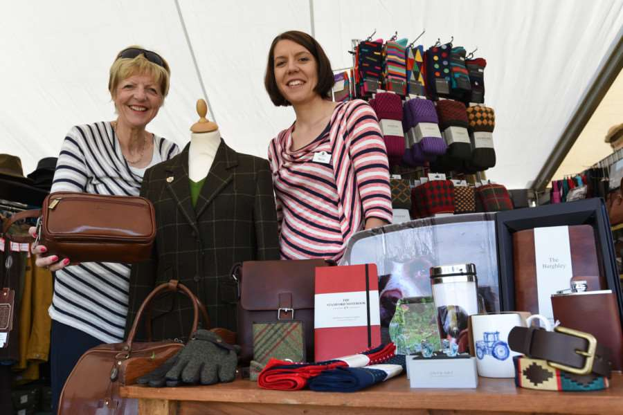 Burghley Horse Trials 2016 Anne Brown a nd Becca Stubbs from Robinson's of Stamford on their stand at the show EMN-160109-114235009