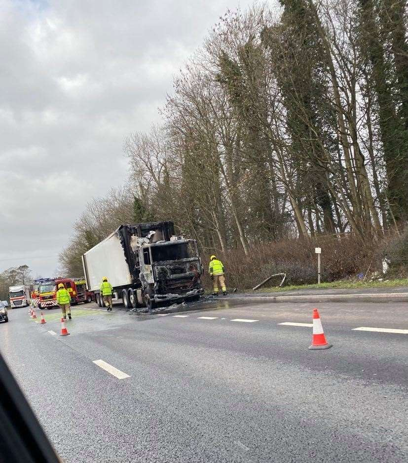 Lorry fire, A1 (44298156)