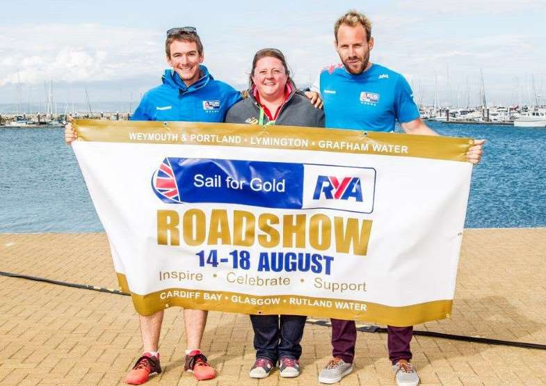 Dylan Fletcher (left) and Alain Sign helped launch the RYA Sail for Gold Roadshow with Rutland Sailing Club's Karen Wilkins at WPNSA last month EMN-160808-151617001
