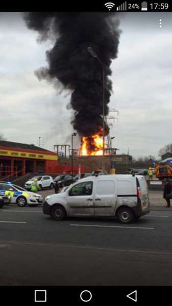 Substation fire in Grantham. Photo: Kirby Marshall