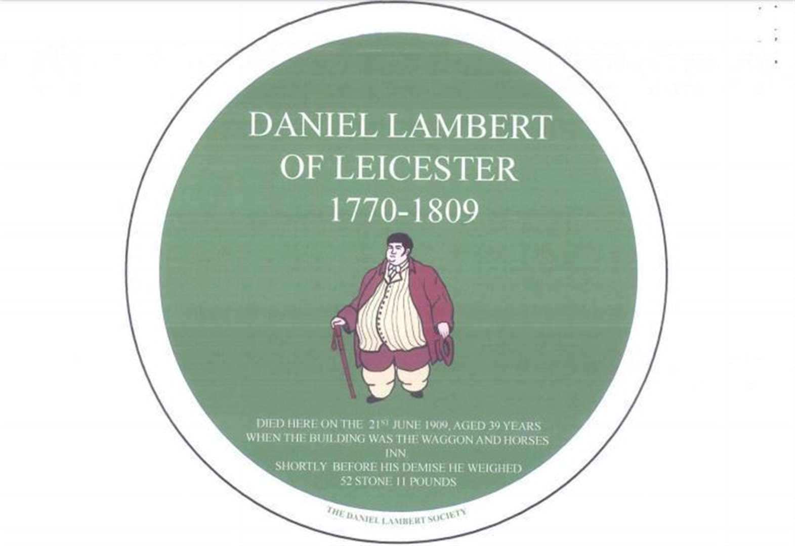 Plaque for 'big man' Daniel Lambert to go up in November