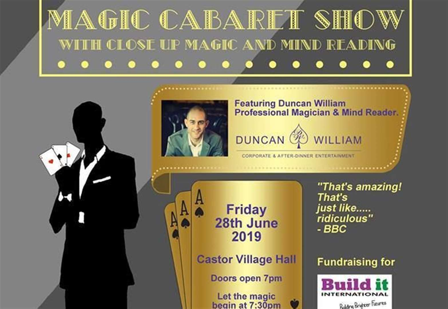 Mind-reading and magic show will raise money for skills training