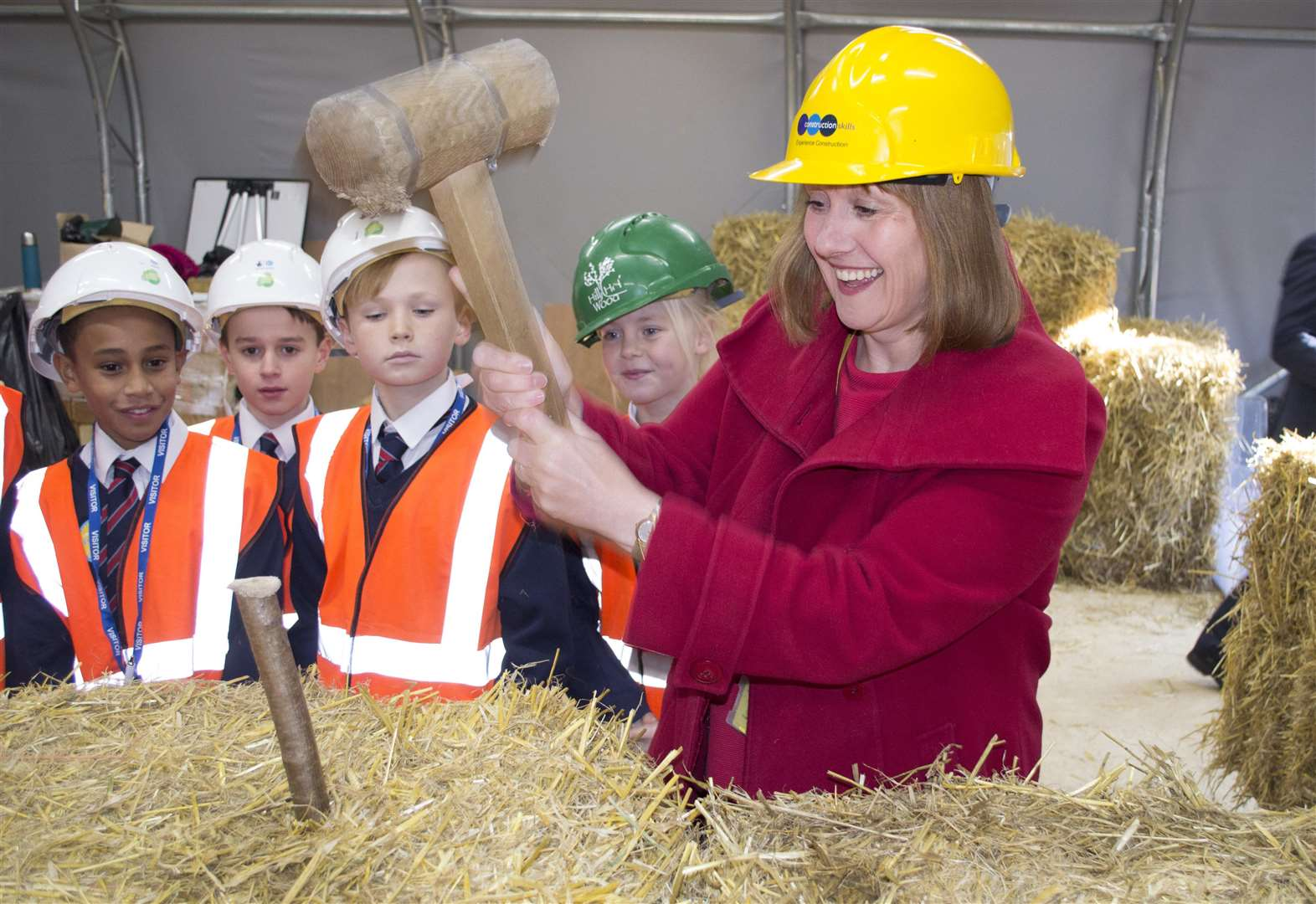 Secondary and primary school pupils try their hand at construction skills