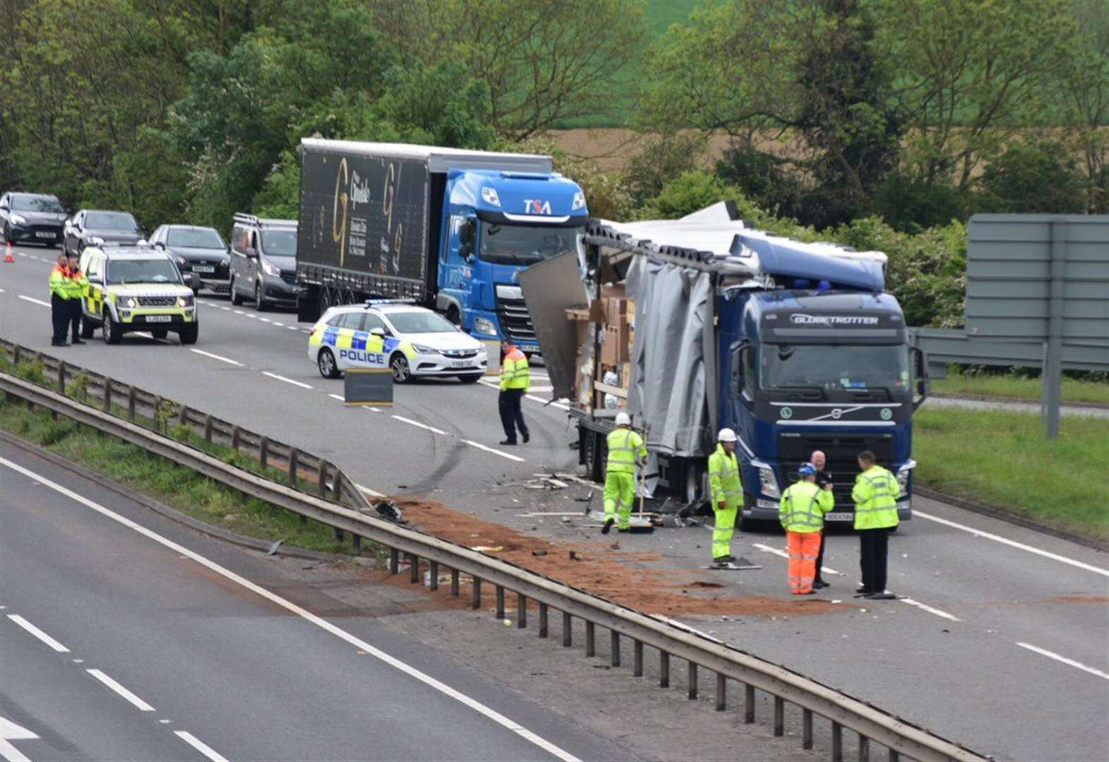 Dangerous driving arrest over two-lorry A1 crash north of Stamford