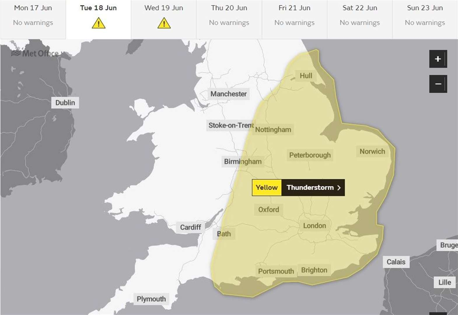 Met Office issues yellow weather warning for torrential rain and thunderstorms