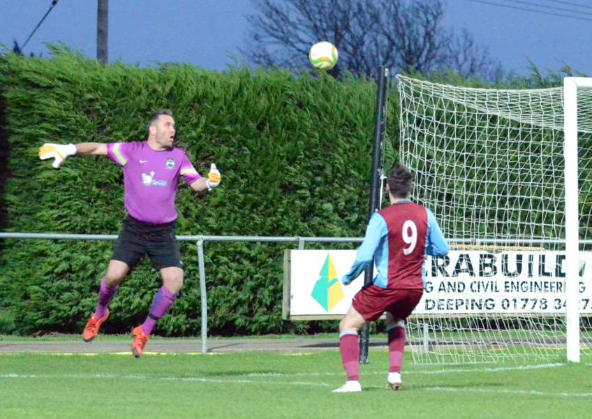 Mark Osborn's mistake led to the only goal at Deeping Rangers on Saturday. Photos by Tim Wilson