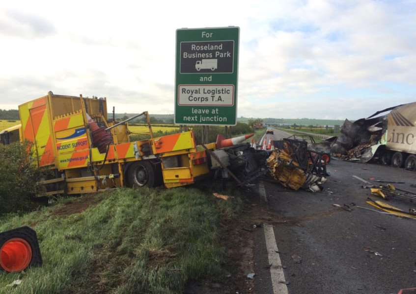 Lorry collision on the A1 near Marston.