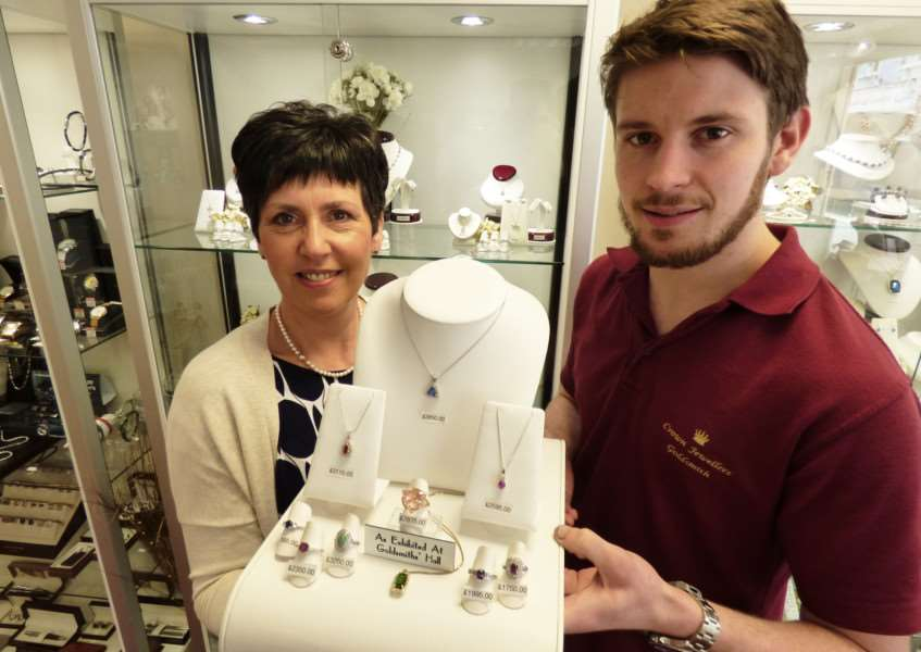Catherine Powell, owner of Crown Jewellers, with son Matt of Matt Powell Fine Jewellery.