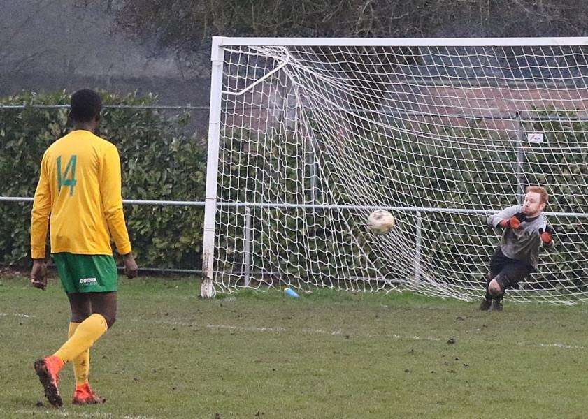 Action from Bourne Town against Oakham United in the UCL Division One. Photo: Geoff Atton