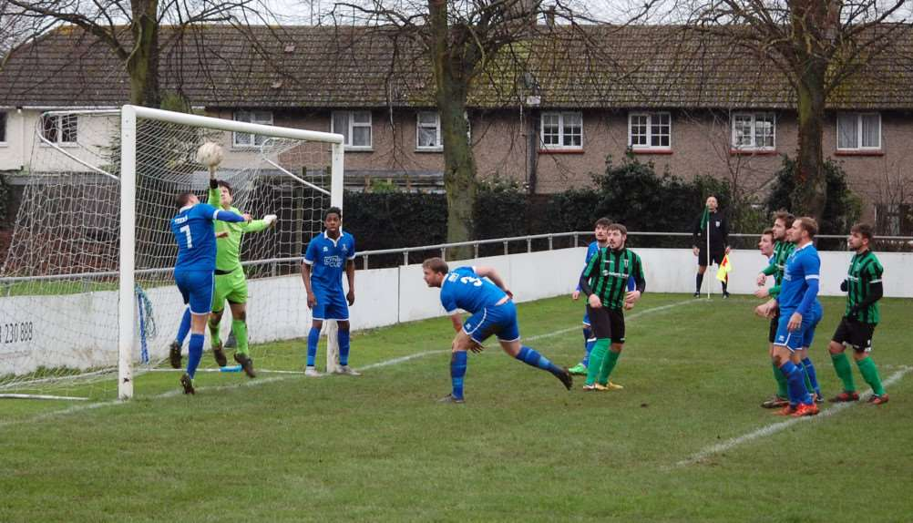Action from Blackstones' 2-2 draw with Potton United. Photo: Martin Davies EMN-160126-094227001