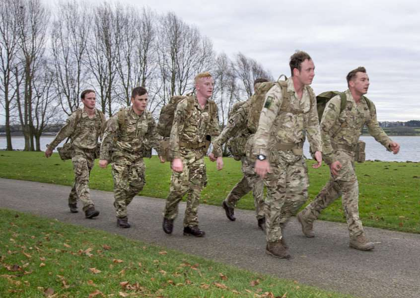 Solidiers from the Princess of Wales's Royal Regiment completing a loaded walk at Rutland Water. By Lee Hellwing.