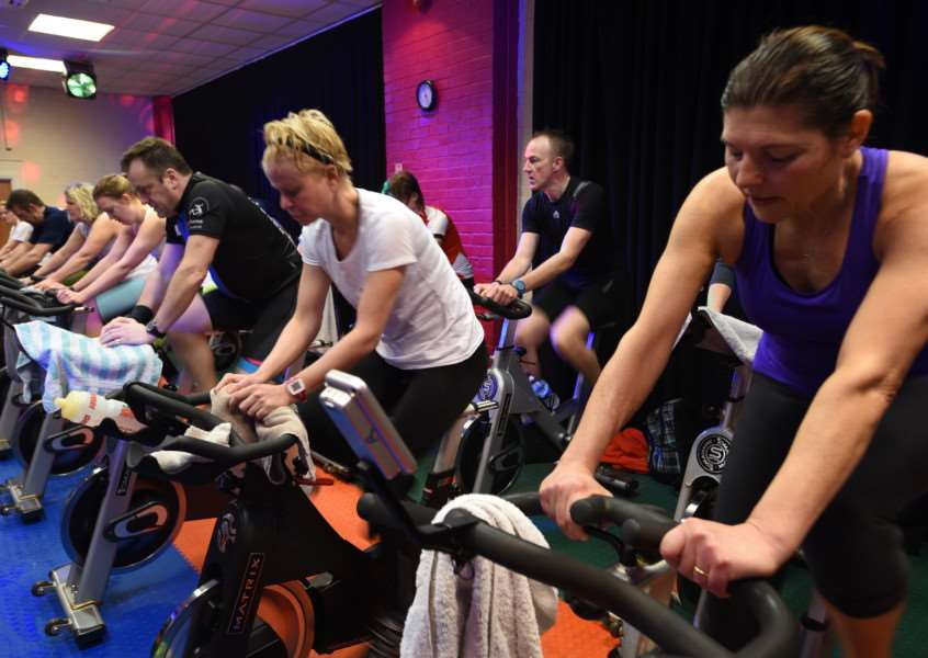 Sponsored cyclists at Westside Fitness Club , Stamford EMN-160102-115023009