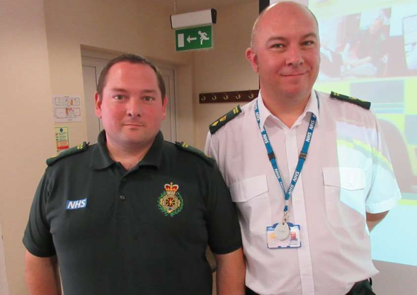 EMAS staff Mark Gregory, right, and Tim Hargraves speak at the Healthwatch Rutland listening event EMN-160722-155752001