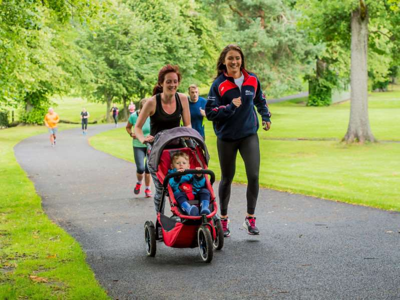 Eve Muirhead taking part in a parkrun in Falkirk