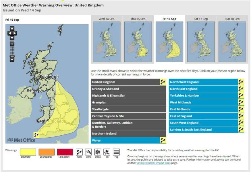 Met Office issue weather warning