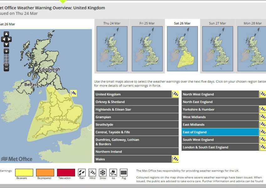 A warning for high winds has been issued for Saturday
