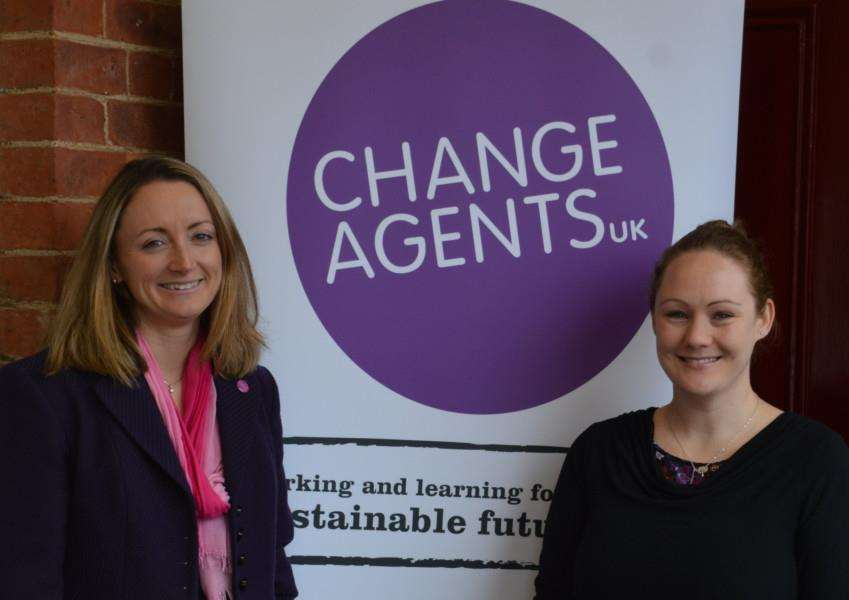 Marissa Watts, of Change Agents UK, with Megan Allen from WiRE Leicestershire and Rutland
