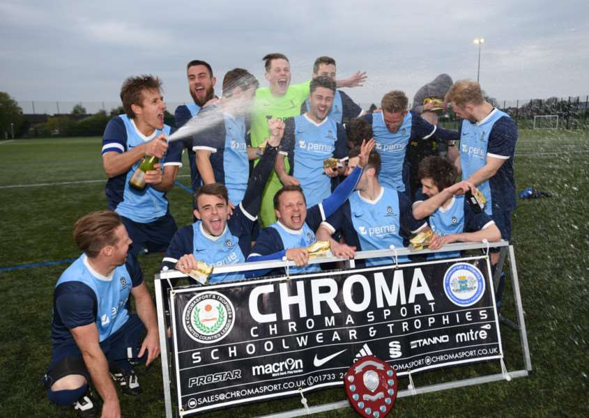 Winners of the ChromoSport Chairman's shield trophy at the Grange, Ketton FC EMN-150305-005141009