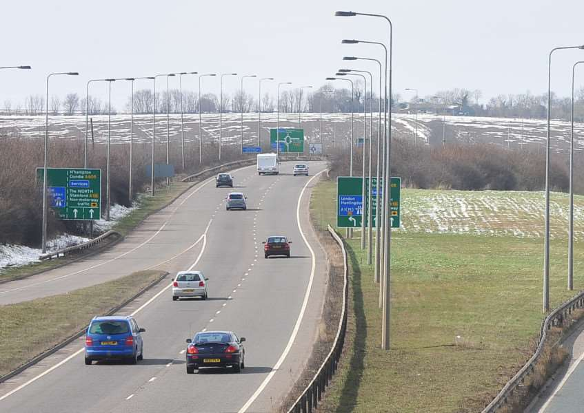 The westbound Fletton Parkway looking towards the junction with the A(1)M. Photo: Rowland Hobson/Peterborough Telegraph