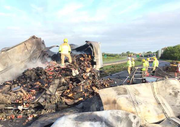 A serious vehicle fire has closed the A1 at Grantham