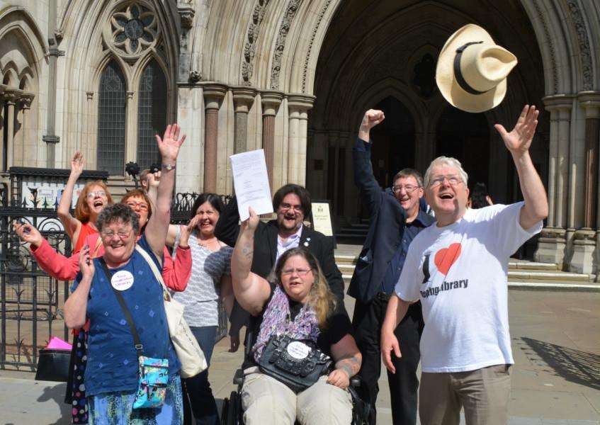Save Lincolnshire Libraries campaigners celebrate winning their judicial review at the High Court in London EMN-140717-120412001