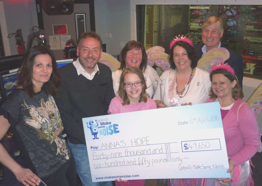 Anna's Hope receives a cheque for nearly �50,000 from Global FM's Make Some Heart Noise EMN-160604-093522001
