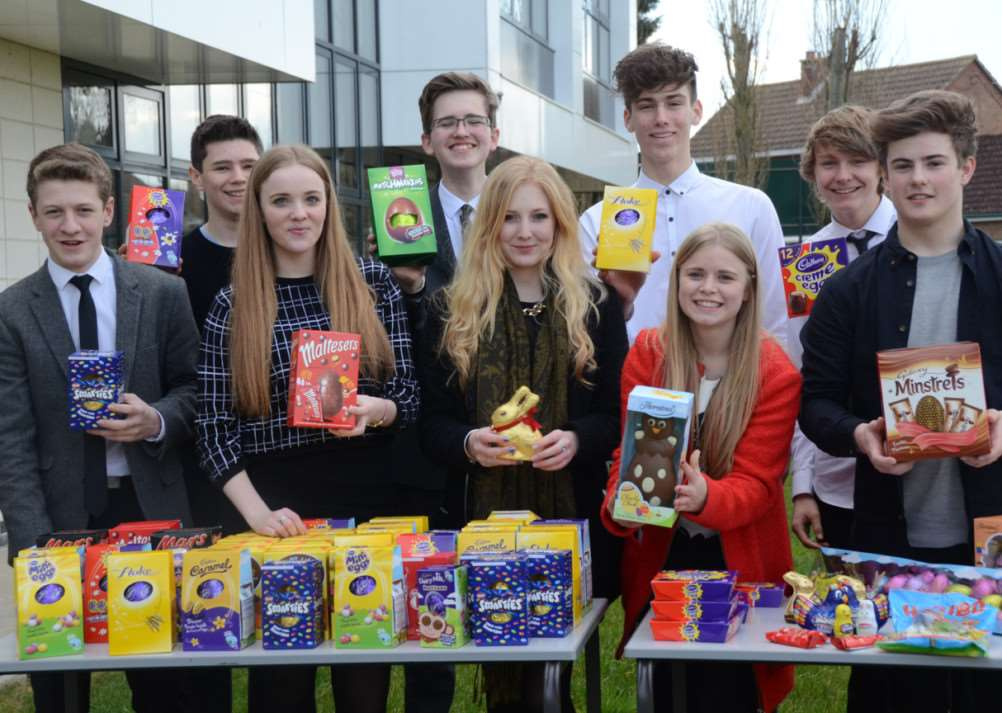 Six formers at The Deepings School taking part in their Easter Egg hunt in aid of Cardiac Risk in the Young EMN-150325-171638009