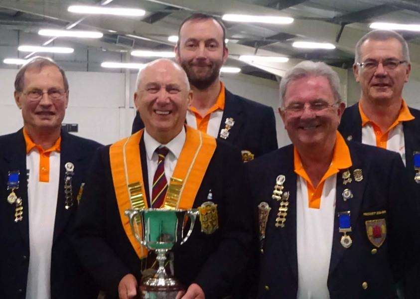 Eversley trophy winners from the left: Les Sharp, Malcolm Squires, Tony Mace (President), Neil Wright, Richard Montgomery, Graham Agger and Cliff Watson.