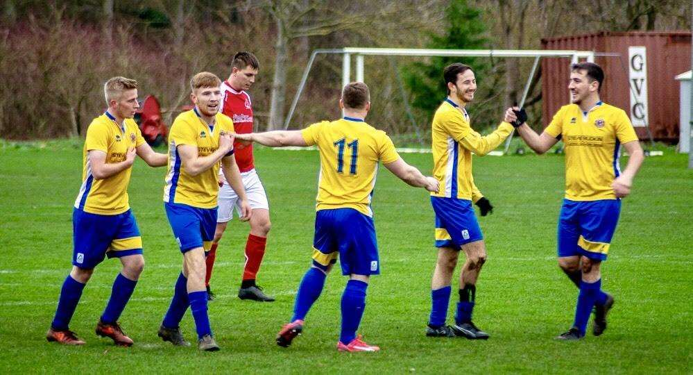 Lions' five goalscorers celebrate the opening goal. They are: Dan Aust, Tom Edwards, Rob Dunn, Jake Showler, Haydn Rice. Photo: Dan Allen (6389240)