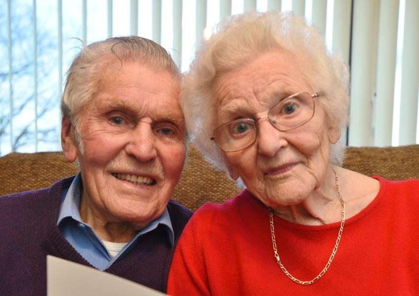 75th wedding anniversary couple Stan and Grace Pacey at home at Maxey EMN-160902-193346009