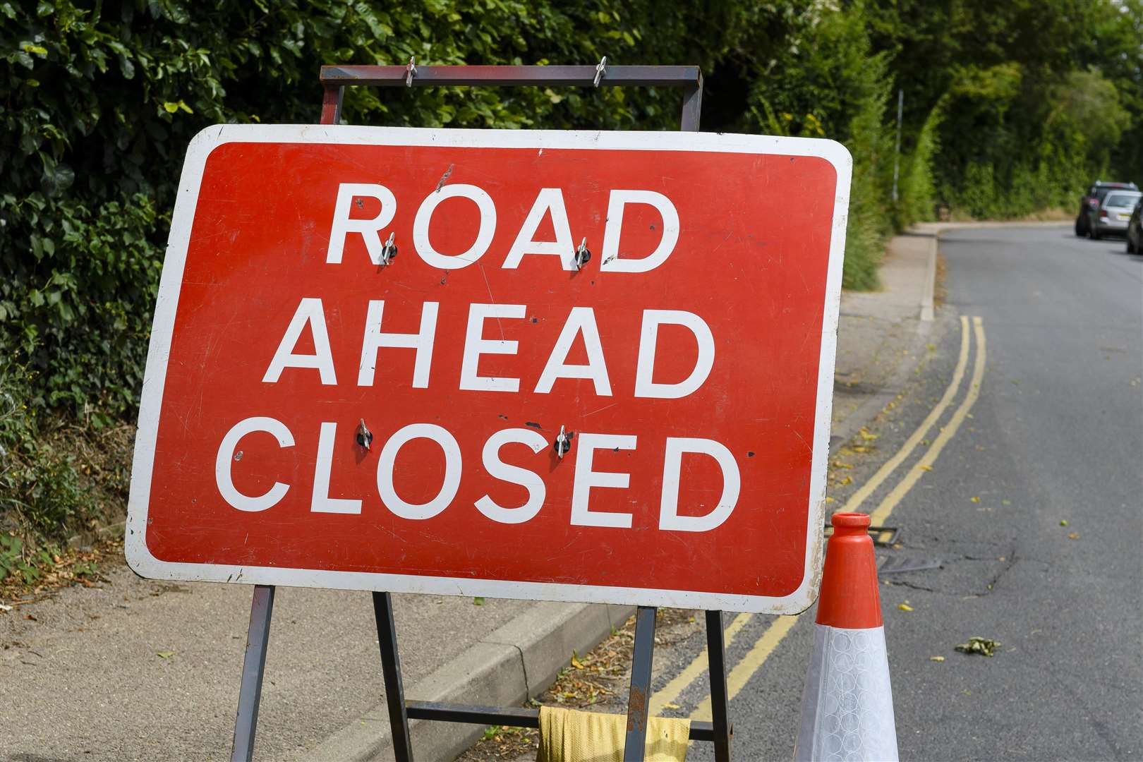 The A606 is closed following an accident.