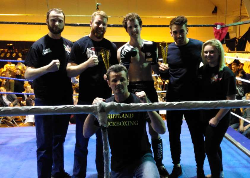 From left, Stewart Wilson (corner man) , Adam Gray, Pierce Everly, Ross Thompson, Abbie kirby (corner girl) and crouching Danny Byrne (trainer) EMN-160404-155328001