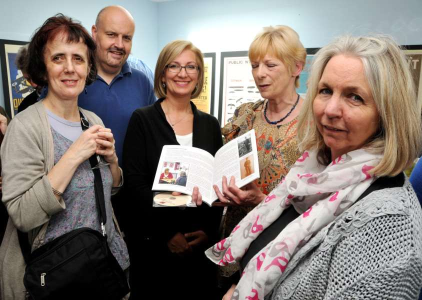 Deepings Community Centre, Douglas Road, Market Deeping, launch of commemorative World War I book and DVD'Nicola Allen, Simon Fovargue, Susan Broccoli, Maggie Ashcroft, Judy Stevens, ANL-150523-183618001