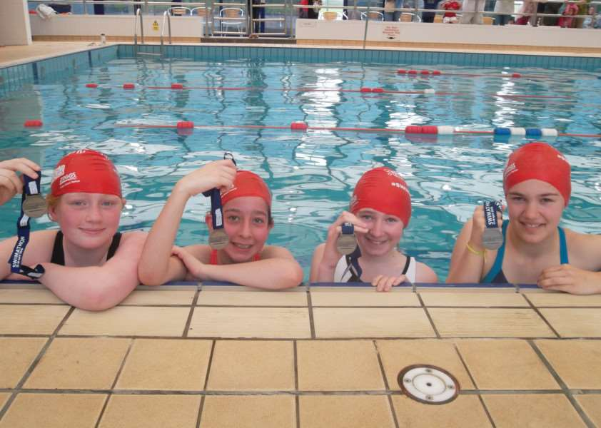 Swimathon at Catmose College in Oakham, April 2015. Part of the Catmose Team, Sarah Cattingan and Kelly Hicks with thier Sons who came to cheer them on. EMN-150428-151908001