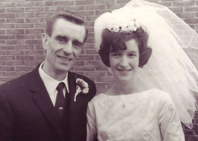 Eileen and Graham Morgan, pictured on their wedding day, which took place 50 years ago today EMN-150909-155249001