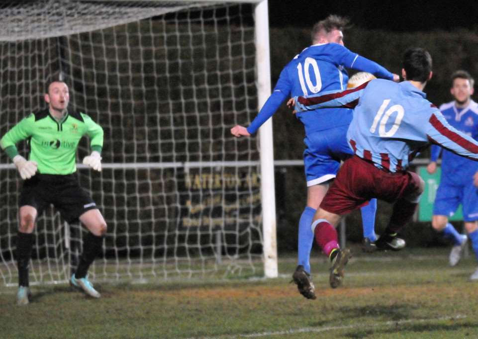 Deeping on the attack during the 2-0 defeat to Yaxley. Photo: Tim Wilson