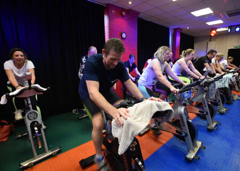 Sponsored cyclists at Westside Fitness Club , Stamford EMN-160102-115038009