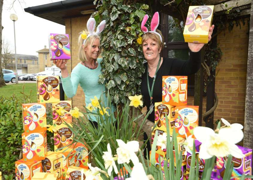 Evergreen Care Trust staff Yvette Powell and Rosie MacLennan (left) with their easter eggs being given out at Stamford Hospital EMN-160323-181457009