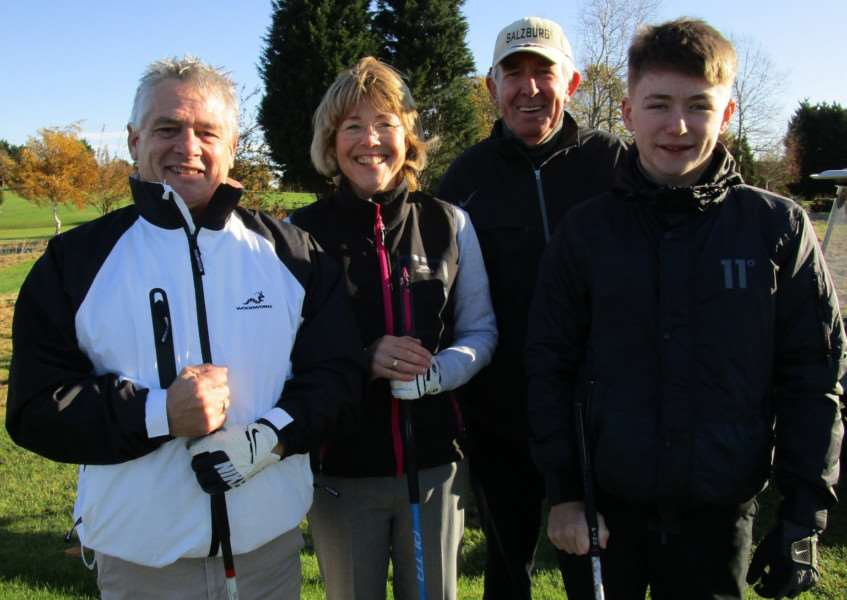 Club captain Steve Sutton, ladies captain Louise Bradley, seniors captain Peter Henderson and juniors captain Alex Gammons.