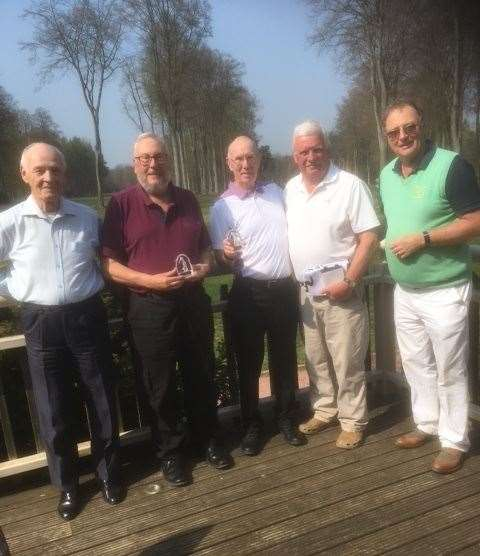 Richard Shuttlewood presenting the team trophy at Forest Pines to Glyn Davies, Andy Briggs, Duncan Cameron and Chris Elsey. (9465130)